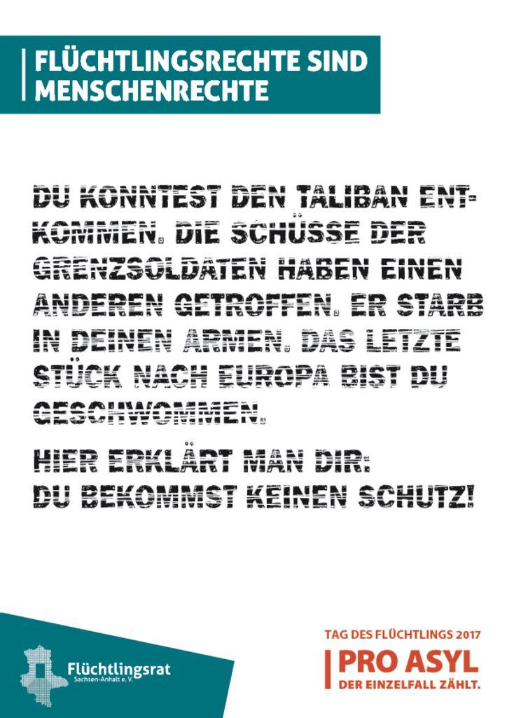 "PRO ASYL-Heft zum ""Tag des Flüchtlings 2017"""