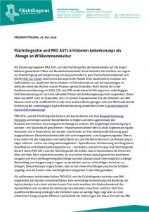 thumbnail of 180516_PM_Flüchtlingsräte und PRO ASYL kritisieren Ankerkonzept