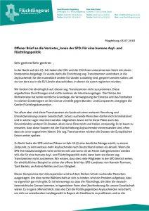 thumbnail of 180707_Offener Brief an die Vertreter_innen der SPD: Für eine humane Asyl- und Flüchtlingspolitik